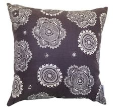 Messy Posey cushion cover - white ink on charcoal linen (48cmx48cm)