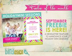 Free photoshop templates - marketing board template to announce mini sessions | Photo cards templates and photographer resources by Birdesign