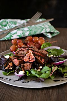 Grilled Flank Steak Salad with Roasted Figs and Grapes - Bakeaholic Mama