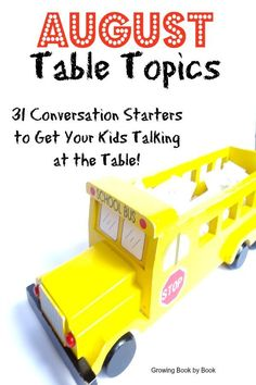 Conversation starters to get your kids talking at the dinner table.  Perfect for starting a new tradition when the kids are headed back to school.