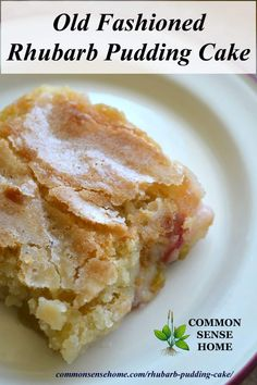 This old fashioned rhubarb pudding cake recipe has a delicate sugar crust, and rich pudding bottom. It's easy to make using fresh or frozen rhubarb, and can also be made gluten free. #rhubarb #desserts