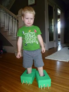 Make Monster or Dinosaur Feet from repurposing two shoe boxes. fun dress up ide for boys.