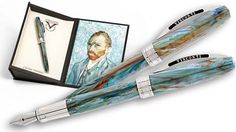 """Visconti takes Van Gogh's palette for his """"Self Portrait in Blue"""" Collection. The Roller and the Fountain pens feature Visconti's magnetic snap closure. A custom gift box features a reproduction of Van Gogh's 1889 painting. Van Gogh Portraits, Van Gogh Self Portrait, Fountain Pens For Sale, Fountain Pen Ink, Fancy Pens, Pen Collection, Pen Case, Rollerball Pen, Pen And Paper"""