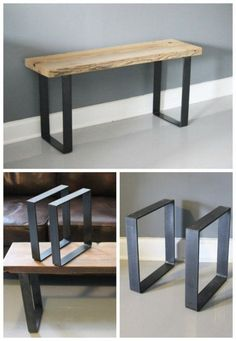 """Ships within 24 hrs steel leg metal leg bench leg table leg steel leg pair of legs reclaimed wood One leg black square, second leg """"dipped"""" waterfall I love mixing steel and wood Legs for bench for mud room area in garage Unique Coffee Tables Styling Furniture Projects, Furniture Plans, Home Furniture, Furniture Design, Furniture Online, System Furniture, Office Furniture, Bedroom Furniture, Furniture Movers"""