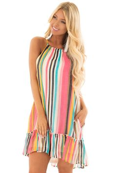 e1bb73ca82a5 Lime Lush Boutique - Multicolor Striped Halter Dress with Ruffle Hemline,  $44.99 (https: