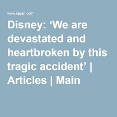 Disney: 'We are devastated and heartbroken by this tragic accident' | Articles | Main