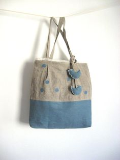 Blue Rustic Linen Natural Taupe Large Polka Dot от TalesSweetTale