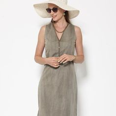 Olive green Summer dress day dress  sleeveles dress by natafashion