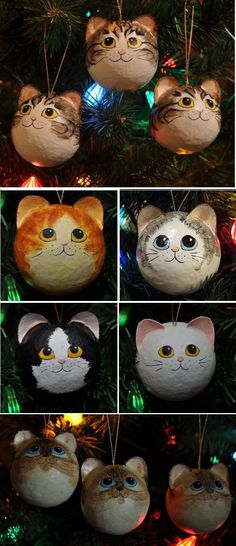 Hand-painted Cat Head Ornaments