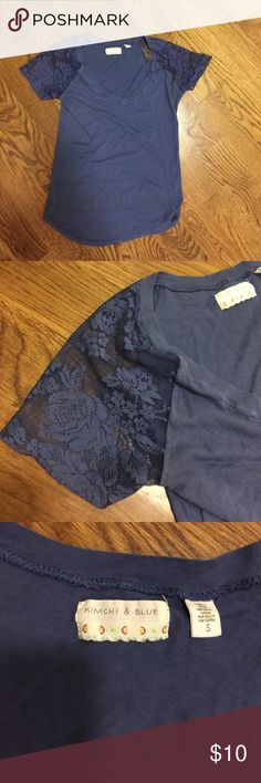 Kimchi & Blue tshirt Bluish purple awesome shirt!  Lace short sleeves.  Size small and runs small (more like an extra small) Kimchi Blue Tops Tees - Short Sleeve