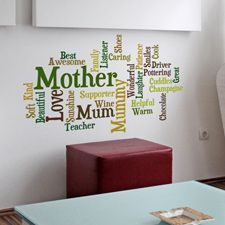 Personalised Word Cloud Wall Sticker £34. Fully customisable with your own words and options.