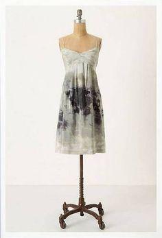 Anthropologie Fei Charcoal Terrace Silk Empire Watercolor Dress 2