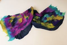 Wool shawl, cobweb scarf, large wrap, multicolored, nunofelted, Mother's day gift idea, wearable art, two side design wrap, for woman by Katrinmania on Etsy