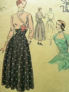 GLAMOROUS 1940's Vintage VOGUE Special Design Sewing Pattern S-4869 - with Label - Evening Dress & Bolero - Bust 32