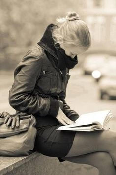 z- Woman Reading, Outisde in Cold