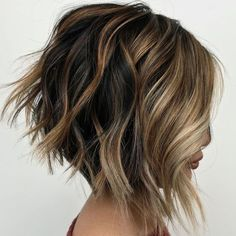 """70 Overwhelming Ideas for Short Choppy Haircuts - - Disconnected Inverted Shaggy Bob Disconnected choppy haircuts are easy to manage because they show no """"mistakes"""" in styling. The shaggy pieces add to the purposely messy silhouette. Short Choppy Haircuts, Shaggy Bob Haircut, Messy Bob Hairstyles, Trending Hairstyles, Short Hair Cuts, Pixie Haircuts, Medium Hairstyles, Natural Hairstyles, A Line Haircut Short"""