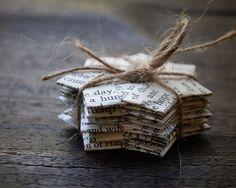 Vintage+paper+folded+stars+Text.+Gift+decoration.+2.3+por+ShePinTea,+$8,00