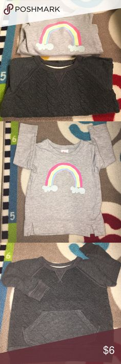 2 Toddler Girl Sweatshirts GREAT DEAL - 2 sweatshirts for the price of one! These kept my baby worn and looked ADORABLE with jeggings and leggings! The charcoal top is Osh Kosh and the rainbow top is Circo. Stain free - Bundle for additional savings 🌸 Shirts & Tops Sweatshirts & Hoodies
