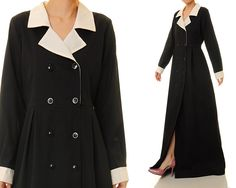 Classic Black Notched Collar Double Breasted Shirtdress Cotton Abaya Maxi Dress - Size S/M (6304) by Tailored2Modesty on Etsy