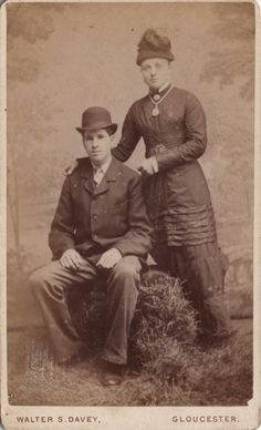 CDV photo of a Victorian Couple taken in Gloucester around late 1870s by W. S. Davey at his studio located at 65 Northgate Street.