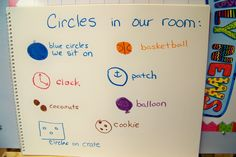silly easy thing to do...look for shapes in the room. I used to do this with my half/half pre-k/k class.