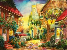 Watercolor houses. Imaginary place.