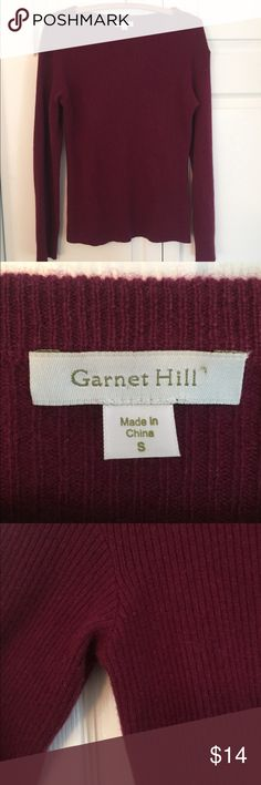 """100% CASHMERE Sweater Garnet Hill cashmere sweater in very good condition.  Burgundy color, size S.  Minimal piling as shown in pic.  Approx 24"""" long x 16"""" across. Garnet Hill Sweaters Crew & Scoop Necks"""
