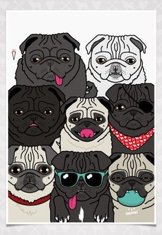 Pug Pile Poster www.thepugluv.com #pug