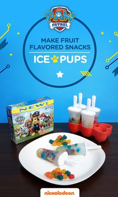 """These fruit-snack-filled """"Ice Pups"""" are a healthy yet sweet snack, easy to make and require only a few ingredients. What You'll Need Kellogg's PAW Patrol Fruit Flavored Snacks Coconut water (or your juice of choice) Ice pop molds How to Make Step One: Pour a splash of coconut water into each ice pop mold. Step Two: Pour one pack of fruit snacks into each mold. Step Three: Fill the remainder of the mold with coconut water. Then, freeze overnight and serve."""