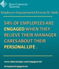 54% of employees are engaged when they believe their manager cares about their personal life.