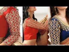 Hand Made Bridal Sleeves Heavy Work Stitching Dresses, Hand Embroidery Videos, Fabric Glue, Saree Blouse, Blouse Designs, Embroidery Designs, Hands, Crop Tops, Bridal