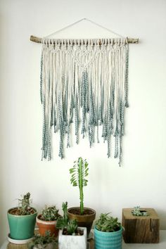 Blue wall hanging Macrame Wall Hanging Modern Macrame Wall