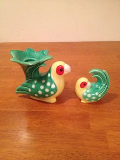 Fitz and Floyd parrot candle holder and salt by Kristelstreasures, $40.00