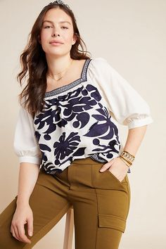 Plus Size Maeve Liyah Embroidered Blouse in Blue Size: Women's Tops at Anthropologie Plus Size Casual, Plus Size Tops, Plus Size Outfits, Petite Fashion, Curvy Fashion, Womens Fashion, Fall Fashion, Style Fashion, Anthropologie Clothing