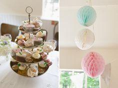 pastel wedding pom poms, image by Laura Babb