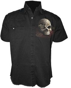 Spiral - Steampunk Bandit - Mens Black S/S Work Shirt [TR307881] - £32.99 : Gothic Clothing, Gothic Boots & Gothic Jewellery. New Rock Boots, goth clothing & goth jewellery. Goth boots and alternative clothing