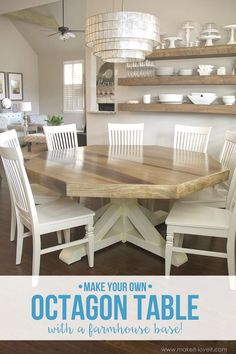 DIY Octagon Dining Room Table...with a farmhouse base. (Seats 8 comfortably!!)   via Make It and Love it