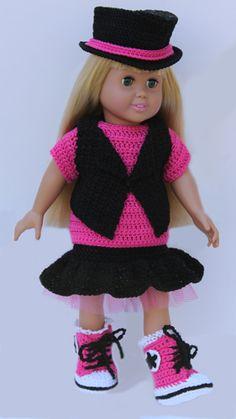 Fashion Statement, American Girl 18 inch Doll crochet pattern.  Trendy designs inspired by Tokyo street fashion.