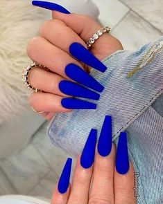 Navy Nails, Blue Coffin Nails, Blue Acrylic Nails, Summer Acrylic Nails, Pink Nails, Gel Nails, Summer Nails, Neon Blue Nails, Manicures