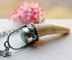 Antler Pendant Necklace Hand Built of Rustic by EONDesignJewelry