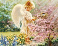 spring angels | spring angel, angel, birds, eggs, fantasy, flowers, nest, painting ...