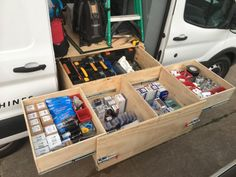 Made new tool cabinets in work truck with heavy duty drawer slides. Truck Bed Drawers, Tool Drawers, Truck Bed Storage, Van Storage, Trailer Storage, Tool Storage, Truck Tools, Truck Tool Box, Tool Boxes For Trucks