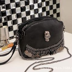 Punk rivet metal tassel designer mini PU leather women famous brand bags handbags ladies crossbody shoulder messenger bags skull