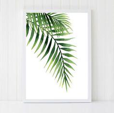 Palm Leaves Palm Leaf Watercolors Tropical Wall Art by ArtbyASolo Art Tropical, Tropical Kitchen, Green Kitchen, Tropical Leaves, Palm Frond Art, Palm Fronds, Green Watercolor, Watercolor Leaves, Plants Watercolor