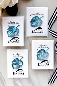 PTI   Watercolor Galaxy Thank You Cards Personalized With Constellations
