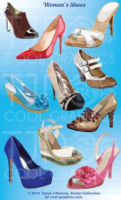 Women's Shoes  Vector Clip Art by CleverVectors on Etsy, $3.95 Shoes Vector, Fashion Clipart, Strappy Wedges, Shoe Clips, Fashion Flats, Women's Shoes, High Heels, Clip Art, Shoe Illustration