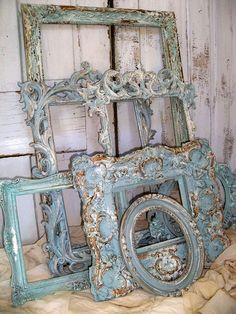 French blue ornate large frame grouping by AnitaSperoDesign