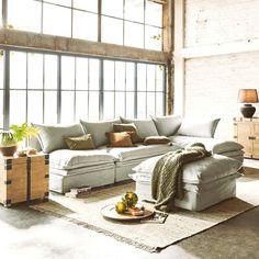 Bank Curdis grijs - De grote bank is rondom zacht gestoffeerd en wordt daarmee uw lievelingsplekje in de woonkamer. De wasbare kussenhoezen zijn versierd met een stijlvolle siernaad. Stevig en hoogwaa Sofas, Interior Inspiration, Relax, Couch, Design, Products, Big Couch, Slipcovers, Lounge Chairs