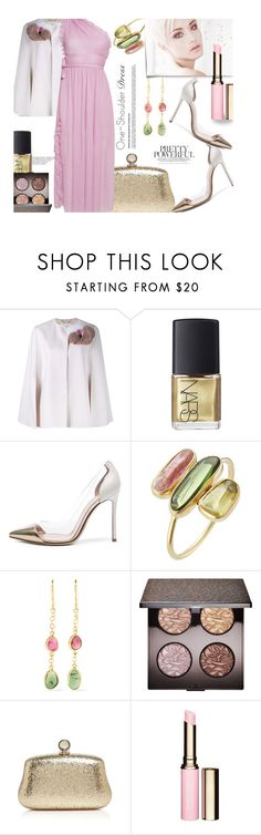 """""""Party Style: One-Shoulder Dress"""" by unamiradaatuarmario ❤ liked on Polyvore featuring Fendi, NARS Cosmetics, Gianvito Rossi, Pippa Small, Laura Mercier, Post-It, Halston Heritage, Clarins, Rochas and dress"""