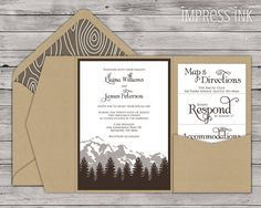 Cascade Mountain Wedding Invitation Pocket Fold or by ImpressInk